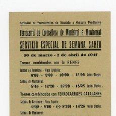 Coleccionismo Recortables: FERROCARRIL DE CREMALLERA DE MONISTROL A MONTSERRAT, HORARIO 1947. Lote 52735738