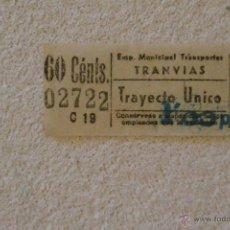 Coleccionismo Recortables: BILLETE TRANVIA VALENCIA. Lote 53791324