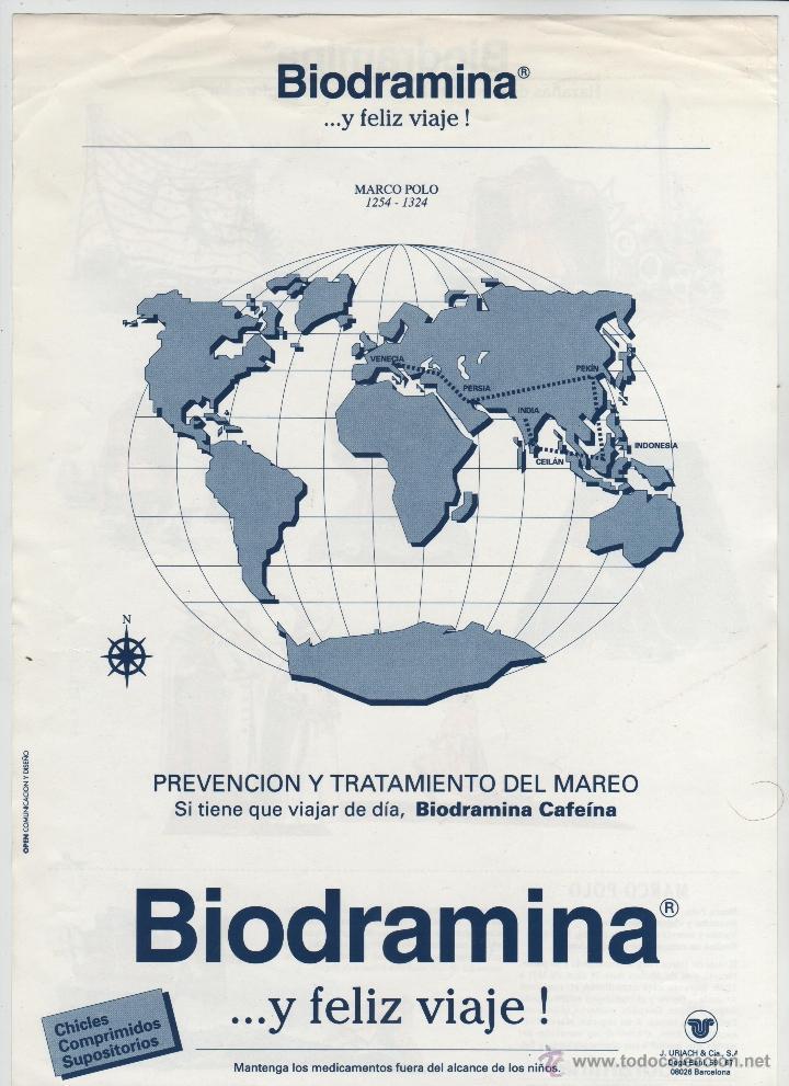 Coleccionismo Recortables: BIODRAMINA HOJA DINA 4 PUBLICIDAD RECORTABLE - MARCO POLO. - Foto 2 - 54929623