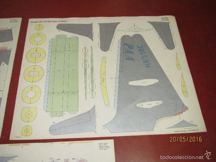 Coleccionismo Recortables: Antiguo Recortable Avion DOUGLAS DC-6B Super 6 Clipper en 3 Laminas de 43x36 cm. - Año 1960s. - Foto 2 - 198754987