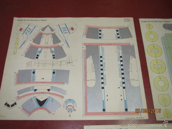 Coleccionismo Recortables: Antiguo Recortable Avion DOUGLAS DC-6B Super 6 Clipper en 3 Laminas de 43x36 cm. - Año 1960s. - Foto 5 - 198754987