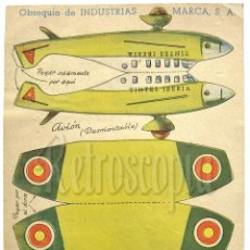 Coleccionismo Recortables: RECORTABLE PUBLICIDAD TINTES IBERIA NORIT DDT ORION INDUSTRIAS MARCA: AVION AEROPLANO. Lote 57043195