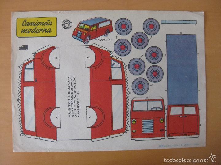 RECORTABLE CAMIONETA MODERNA. AÑO 1959. BRUGUERA (Coleccionismo - Recortables - Transportes)
