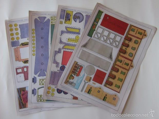 ESTACION DE TREN, LOCOMOTORA Y DOS VAGONES - EDITORIAL ROMA (Coleccionismo - Recortables - Transportes)