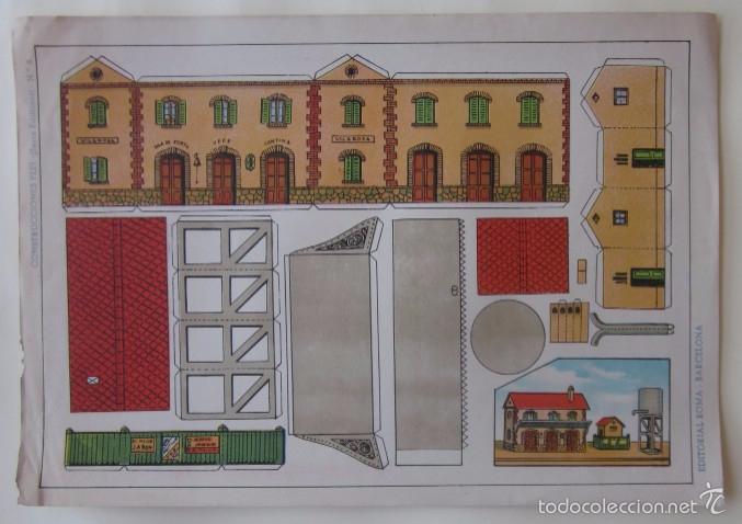 Coleccionismo Recortables: ESTACION DE TREN, LOCOMOTORA Y DOS VAGONES - EDITORIAL ROMA - Foto 2 - 58137133
