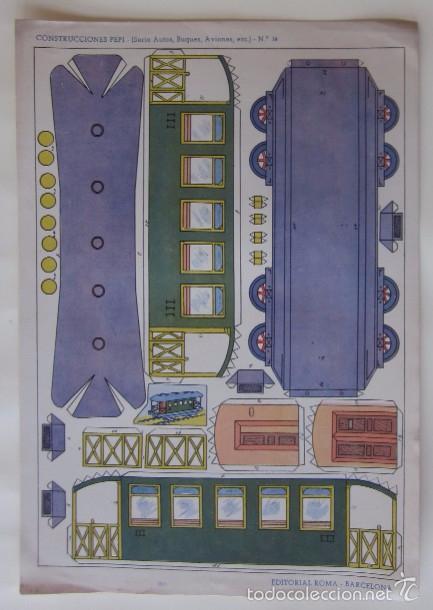 Coleccionismo Recortables: ESTACION DE TREN, LOCOMOTORA Y DOS VAGONES - EDITORIAL ROMA - Foto 4 - 58137133