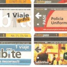 Coleccionismo Recortables: 4 BILLETES DE METRO BUENOS AIRES ARGENTINA 000. Lote 59081655
