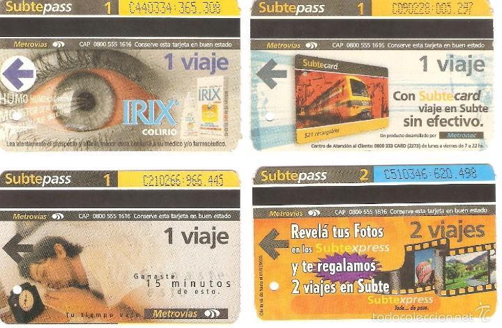 4 BILLETES DE METRO BUENOS AIRES ARGENTINA 1 (Coleccionismo - Recortables - Transportes)