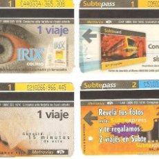 Coleccionismo Recortables: 4 BILLETES DE METRO BUENOS AIRES ARGENTINA 1. Lote 59081725