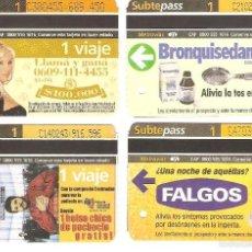 Coleccionismo Recortables: 4 BILLETES DE METRO BUENOS AIRES ARGENTINA 3. Lote 59081810