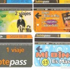 Coleccionismo Recortables: 4 BILLETES DE METRO BUENOS AIRES ARGENTINA 5. Lote 59081885