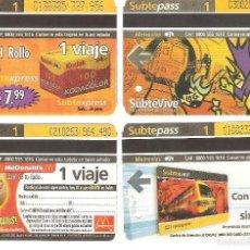 Coleccionismo Recortables: 4 BILLETES DE METRO BUENOS AIRES ARGENTINA 6. Lote 59081930