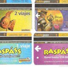 Coleccionismo Recortables: 4 BILLETES DE METRO BUENOS AIRES ARGENTINA 7. Lote 59082155