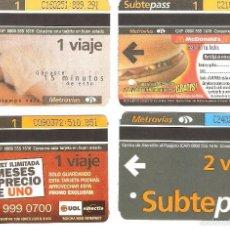 Coleccionismo Recortables: 4 BILLETES DE METRO BUENOS AIRES ARGENTINA 9. Lote 59082225