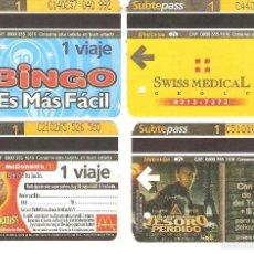 Coleccionismo Recortables: 4 BILLETES DE METRO BUENOS AIRES ARGENTINA 11. Lote 59082405
