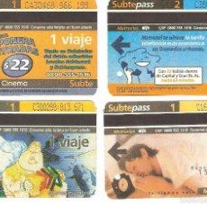 Coleccionismo Recortables: 4 BILLETES DE METRO BUENOS AIRES ARGENTINA 12. Lote 59082450