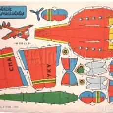 Coleccionismo Recortables: LAMINA RECORTABLES TRANSPORTES BRUGUERA AVION LANZAPARACAIDISTAS 1959 (29.5 X 21 CM.). Lote 61739592