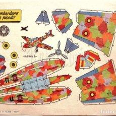 Coleccionismo Recortables: LAMINA RECORTABLES TRANSPORTES BRUGUERA BOMBARDERO EN PICADO 1959 (23.5 X 16.5 CM.). Lote 61739680