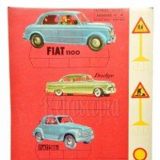 Coleccionismo Recortables: LAMINA RECORTABLE AUTOMÓVILES Nº 4 *FIAT 1100 DODGE PEGASO 102 B* RECORTES ULTRA EDITORIAL ROMA 1961. Lote 69522357
