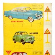 Coleccionismo Recortables: LAMINA RECORTABLE AUTOMÓVILES Nº 5 *AERO WILLYS AUSTIN ALVIS* RECORTES ULTRA EDITORIAL ROMA 1961. Lote 69522517