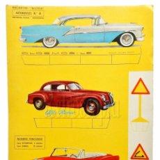 Coleccionismo Recortables: LAMINA RECORTABLE AUTOMÓVILES Nº 6 *OLDSMOBILE ALFA CHEVROLET* RECORTES ULTRA EDITORIAL ROMA 1961. Lote 69522745