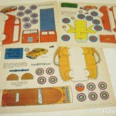 Coleccionismo Recortables: 3 RECORTABLES VEHICULOS,MODELO INGLES TURISMO-CAMIONETA MODERNA-COCHE LIGERO CARRERAS,BRUGUERA 1959. Lote 75795955
