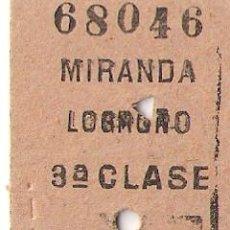 Coleccionismo Recortables: BILLETE DE TREN, MIRANDA- LOGROÑO. Lote 86997112