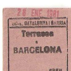 Coleccionismo Recortables: BILLETE DE TREN TERRASES BARCELONA. Lote 86997184