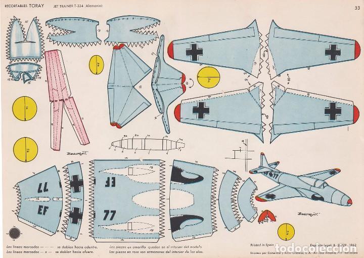 AVIÓN JET TRAINER T-334 (ALEMANIA) RECORTABLES TORAY Nº 33 (Coleccionismo - Recortables - Transportes)