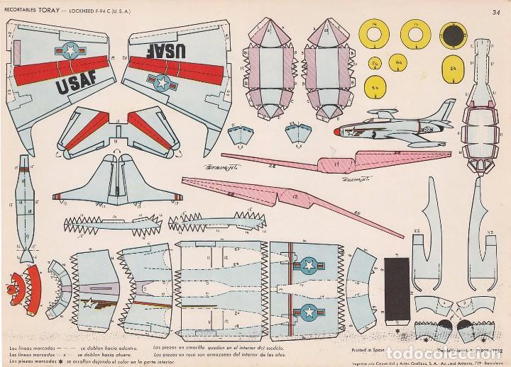 AVIÓN LOCKHEED F-94 (ESTADOS UNIDOS) RECORTABLES TORAY Nº 34 (Coleccionismo - Recortables - Transportes)