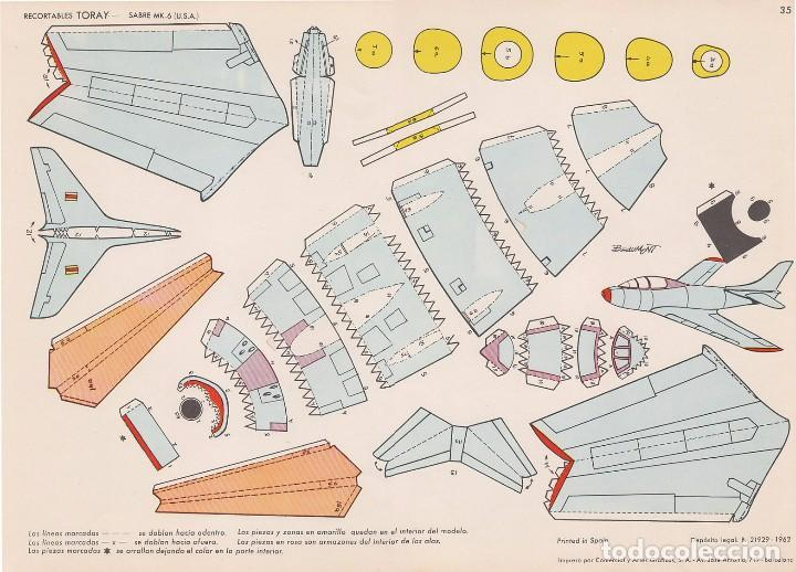 AVIÓN SABRE MK-6 (ESTADOS UNIDOS) RECORTABLES TORAY Nº 35 (Coleccionismo - Recortables - Transportes)