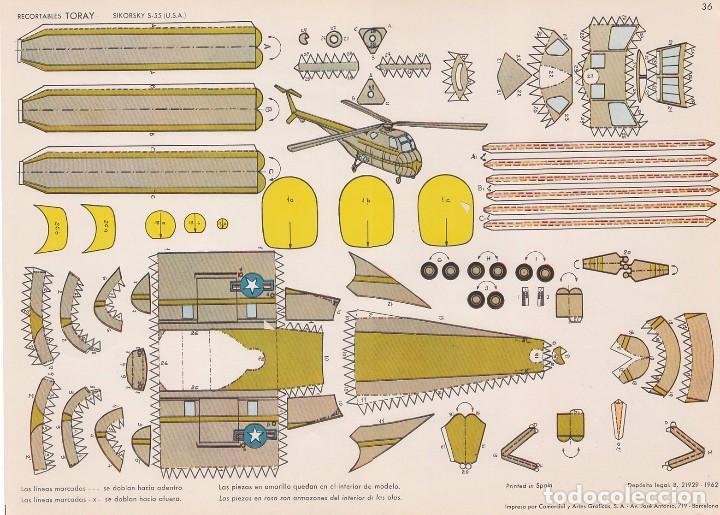 HELICOPTERO SIKORSKY S-55 (ESTADOS UNIDOS) RECORTABLES TORAY Nº 36 (Coleccionismo - Recortables - Transportes)