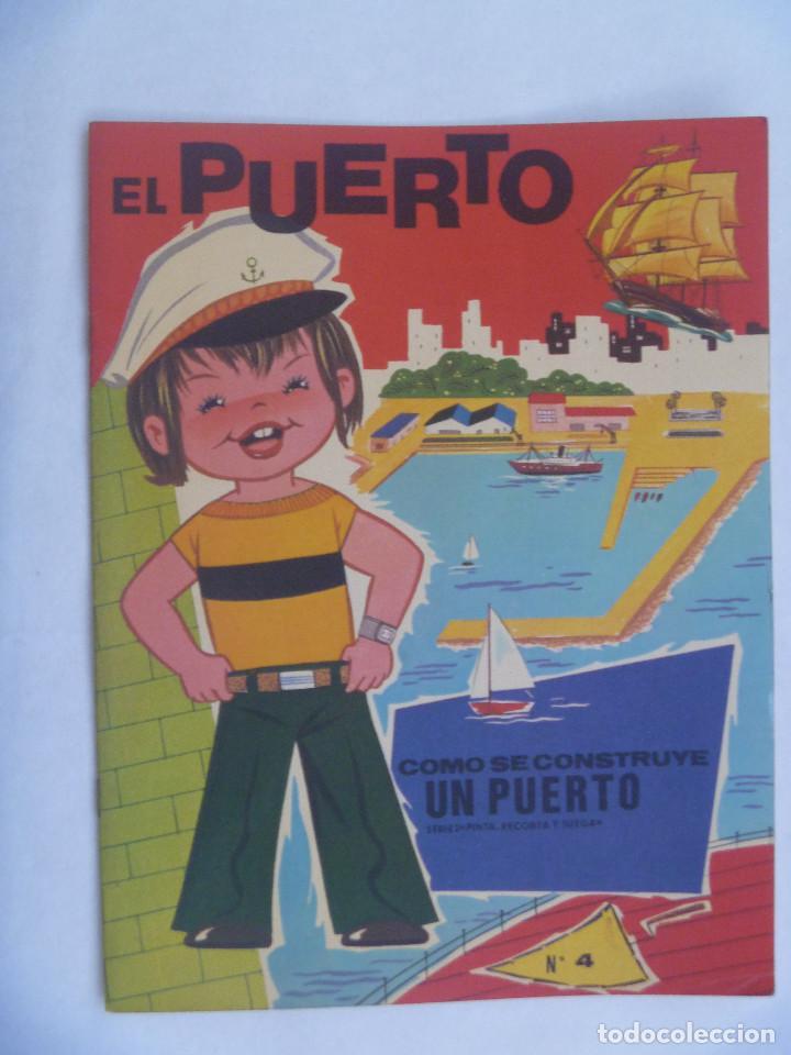 ALBUM DE RECORTABLE PINTA , RECORTA Y JUEGA : EL PUERTO .. EDICIONES HYMSA , BARCELONA.. BARCOS (Coleccionismo - Recortables - Transportes)