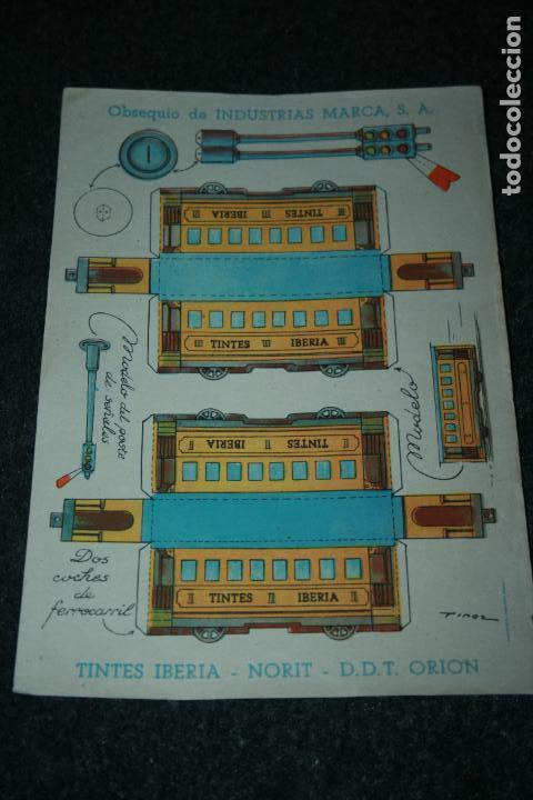 RECORTABLE INDUSTRIAS MARCA ,TINTES IBERIA,NORIT Y ORIÓN.DOS COCHES DE FERROCARRIL.AÑOS 40-50 (Coleccionismo - Recortables - Transportes)
