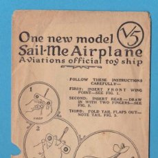 Coleccionismo Recortables: SPIRIT OF SAINT LOUIS. ONE NEW MODEL SAIL-ME AIRPLANE. AVIATIONS OFFICIAL TOY SHIP. CHICAGO. Lote 110649235