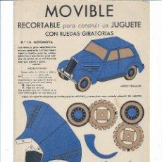 Coleccionismo Recortables: MOVIBLE RECORTABLE CON RUEDAS GIRATORIAS .- EDITOR E.B.A BARCELONA. Lote 112559279