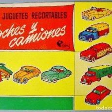 Coleccionismo Recortables: MIS JUGUETES RECORTABLES. COCHES Y CAMIONES. MUNDO INFANTIL. BRUGUERA. AÑOS 50. NUEVO. Lote 112860963