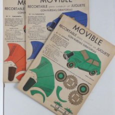 Coleccionismo Recortables: MOVIBLE - RECORTABLE PARA CONSTRUIR UN JUGUETE - 3 COCHES ANTIGUOS. Lote 114633859