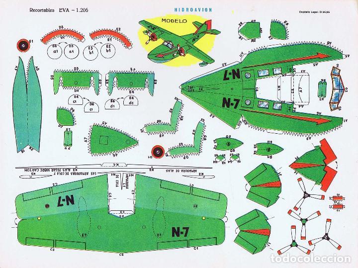 Coleccionismo Recortables: RECORTABLES EVA. AVIONES 1201 A 1210. LIBRO 50 LÁMINAS (No Acreditado) Vasco Americana, 1965 - Foto 12 - 183538106