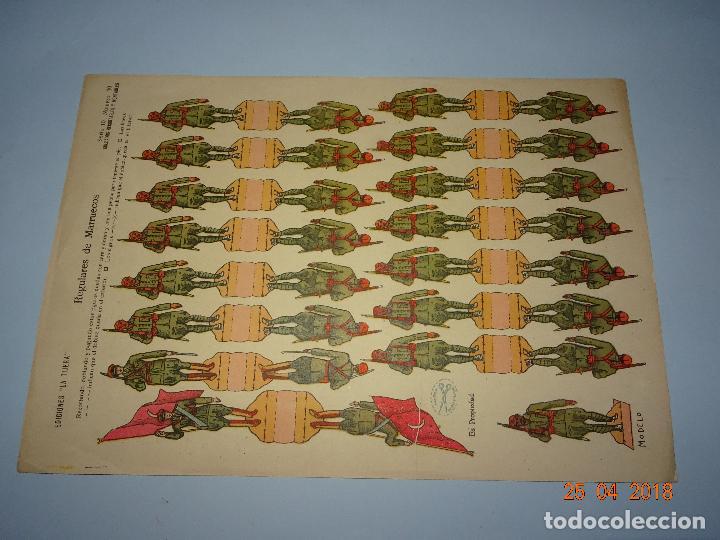 ANTIGUA HOJA DE RECORTABLES REGULARES DE MARRUECOS Nº 30 DE EDICIONES * LA TIJERA * AÑO 1940-50S. (Coleccionismo - Recortables - Transportes)