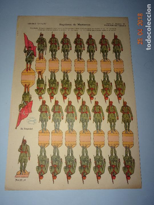 Coleccionismo Recortables: Antigua Hoja de Recortables REGULARES DE MARRUECOS Nº 30 de Ediciones * LA TIJERA * Año 1940-50s. - Foto 2 - 119046215