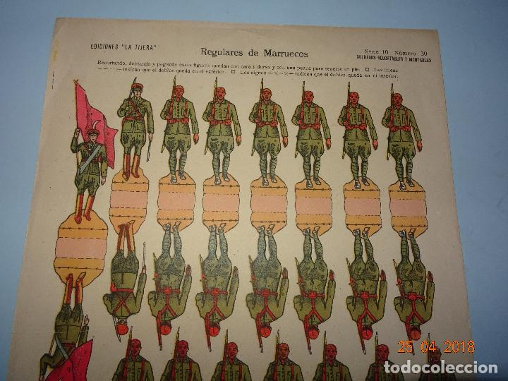 Coleccionismo Recortables: Antigua Hoja de Recortables REGULARES DE MARRUECOS Nº 30 de Ediciones * LA TIJERA * Año 1940-50s. - Foto 3 - 119046215