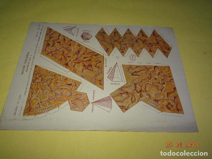 HOJA DE RECORTABLES SECCIÓN INSTRUCTIVA GEOMETRIA 1 Nº 221 DE EDICIONES * LA TIJERA * AÑO 1930-40S. (Coleccionismo - Recortables - Transportes)