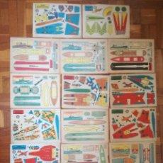 Coleccionismo Recortables: LOTE 17 RECORTABLES BRUGUERA ANTIGUOS AÑOS 50 DE COCHES, BARCOS Y AVIONES. Lote 119242755