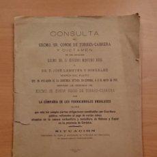 Coleccionismo Recortables: CÓRDOBA, PLEITO DEL CONDE VIUDO DE TORRES-CABRERA CONTRA LA COMPAÑÍA DE FERROCARRILES ANDALUCES 1903. Lote 122151079