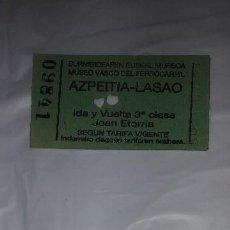 Coleccionismo Recortables: ENTRADA MUSEO DEL FERROCARRIL AZPEITIA LASAO AÑO 2008. Lote 122474167