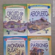 Coleccionismo Recortables: LOTE 4 MAQUETAS RECORTABLES SUSAETA AÑOS 90 PARKING, CIRCUITOS, AEROPUERTO, MONTAÑA RUSA. Lote 126539818