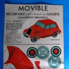 Coleccionismo Recortables: MOVIBLE. Nº 1. AUTOMÓVIL. RECORTABLE PARA CONSTRUIR UN JUGUETE CON RUEDAS GIRATORIAS. E.B.A. EDITOR.. Lote 126892571