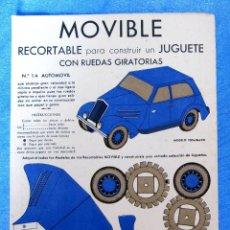 Coleccionismo Recortables: MOVIBLE. Nº 1 A. AUTOMÓVIL RECORTABLE PARA CONSTRUIR UN JUGUETE CON RUEDAS GIRATORIAS. E.B.A. EDITOR. Lote 126892975