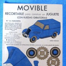 Coleccionismo Recortables: MOVIBLE. Nº 2 A. AUTOMÓVIL RECORTABLE PARA CONSTRUIR UN JUGUETE CON RUEDAS GIRATORIAS. E.B.A. EDITOR. Lote 126893107